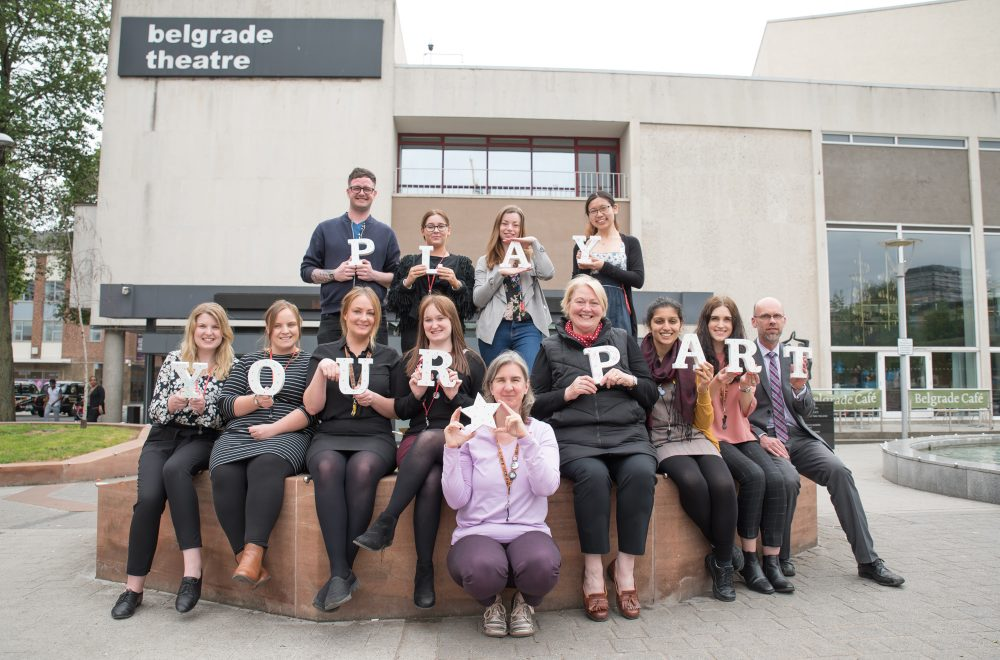 Belgrade Theatre staff supporting the Play Your Part campaign