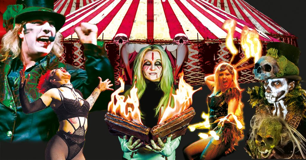 An image of a circus big top. Underneath are various circus performers including a ringmaster in top hat, a fire eater and centre front is a woman holding an open book which is covered in flames
