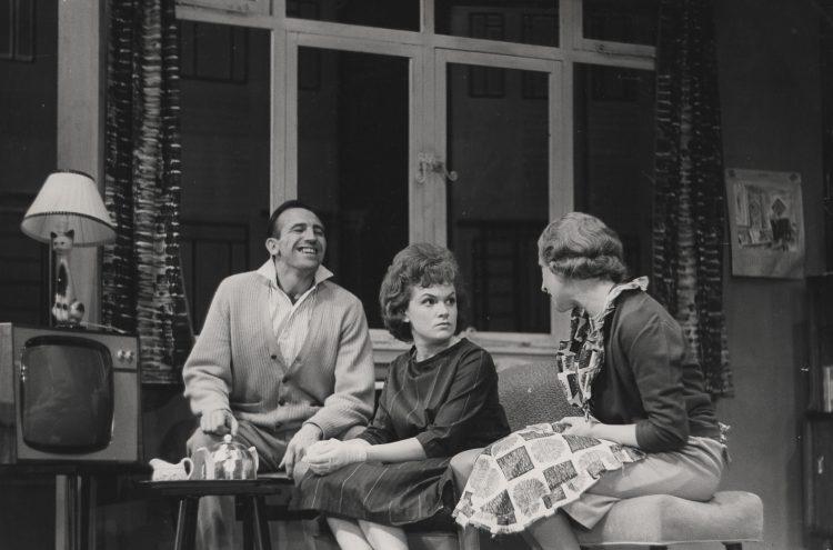 Leonard Rossiter, Gillian Raine and Bridget Turner in Semi-Detached, 1962