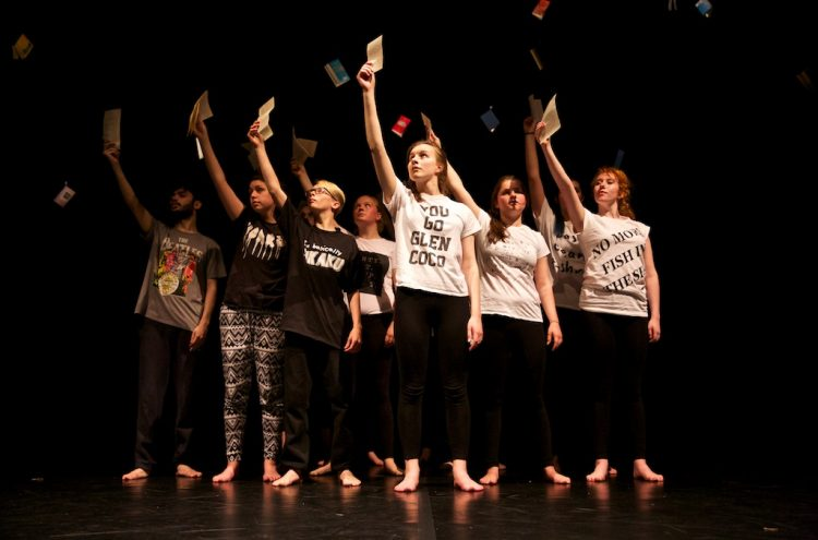 Pages by Highly Sprung, dress rehearsal at The Belgrade Theatre, Coventry