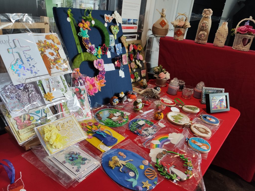 A photo of a pop-up craft stall in the Belgrade Theatre foyer