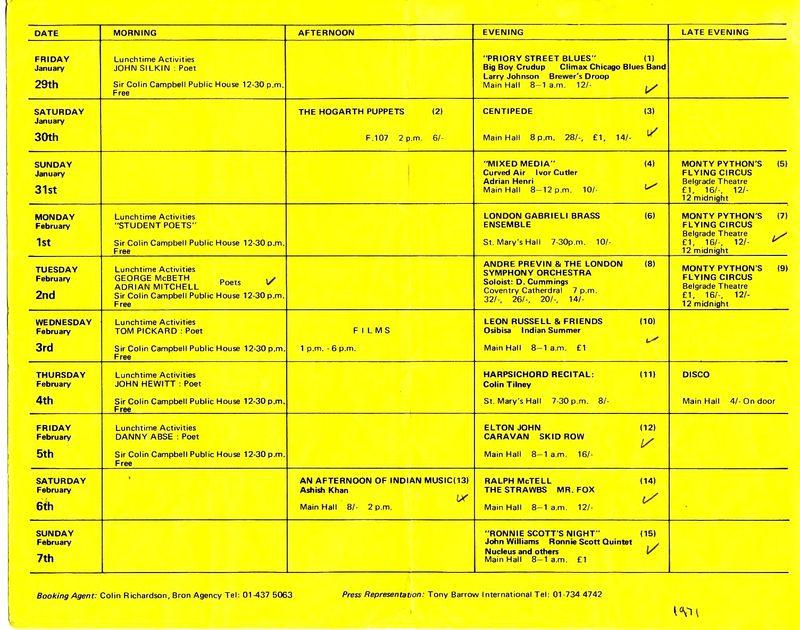 Lanchester Arts Festival Programme, 1971