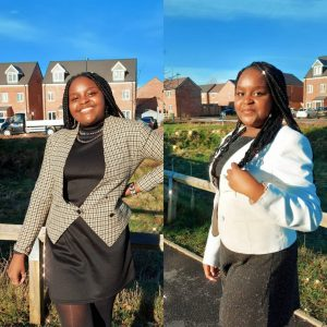 Two images side by side of young women